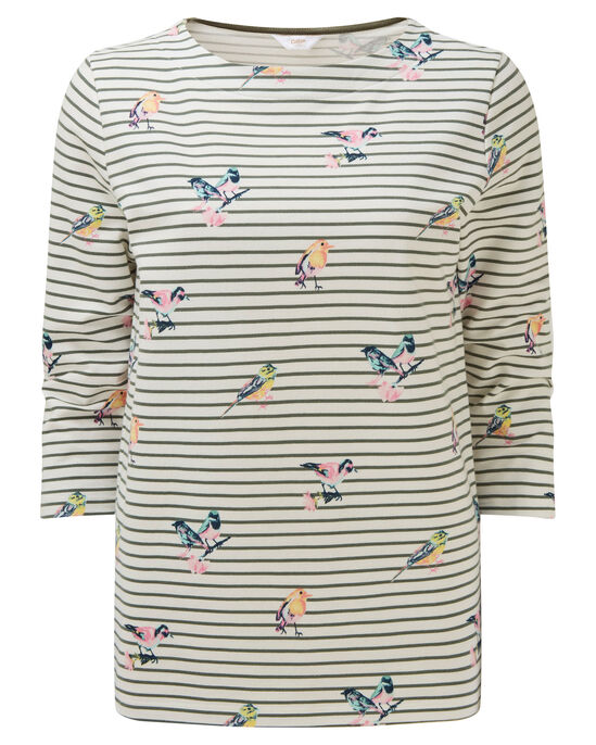 Bird Print Stripe Top