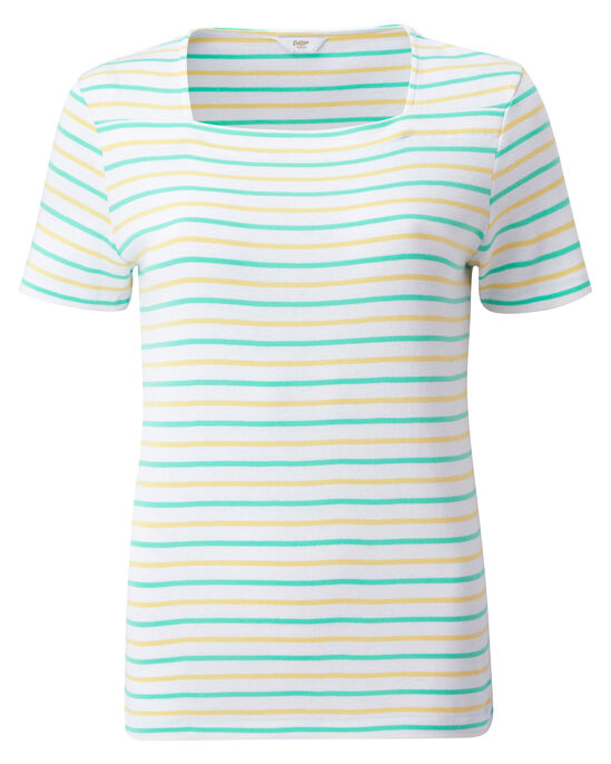 Wrinkle Free Stripe Square Neck Top