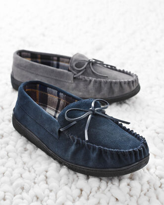 Suede Check Moccasin Slippers