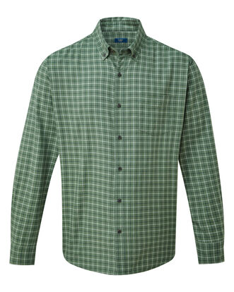 Dark Sage Long Sleeve Tattersall Twill Check Shirt