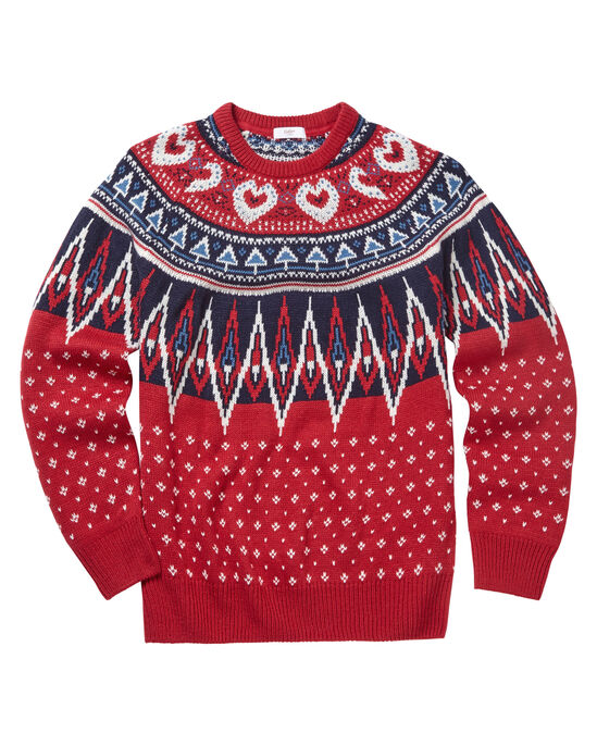 Patterned Crew Neck Sweater