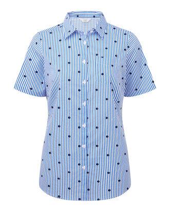 Polka Dot Stripe Short Sleeve Wrinkle Free Shirt