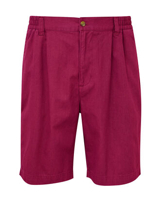 Light Berry Pleat Front Comfort Shorts
