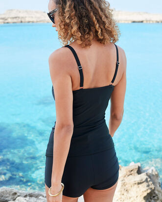 Ruched Front Tummy Control Tankini Top