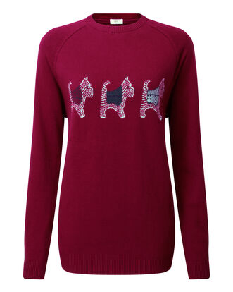 Light Berry Cotton Crew Neck Dog Sweater