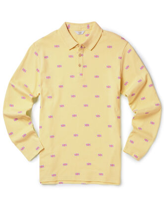 Light Lemon Long Sleeve Jersey Polo Shirt