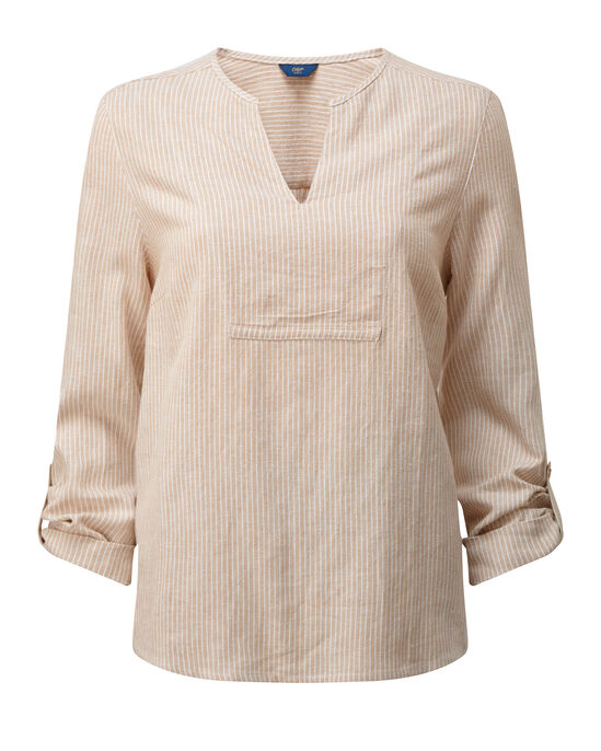 Linen-blend Stripe Notch Neck Top