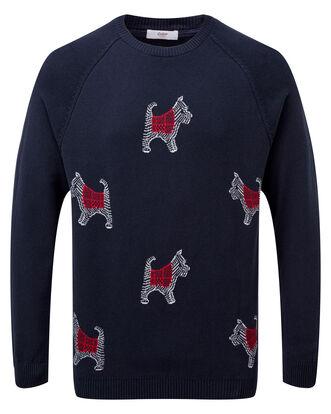 Navy Cotton Crew Neck Dog Sweater