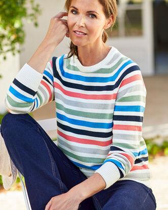 Cotton Stripe Crew Neck Sweater