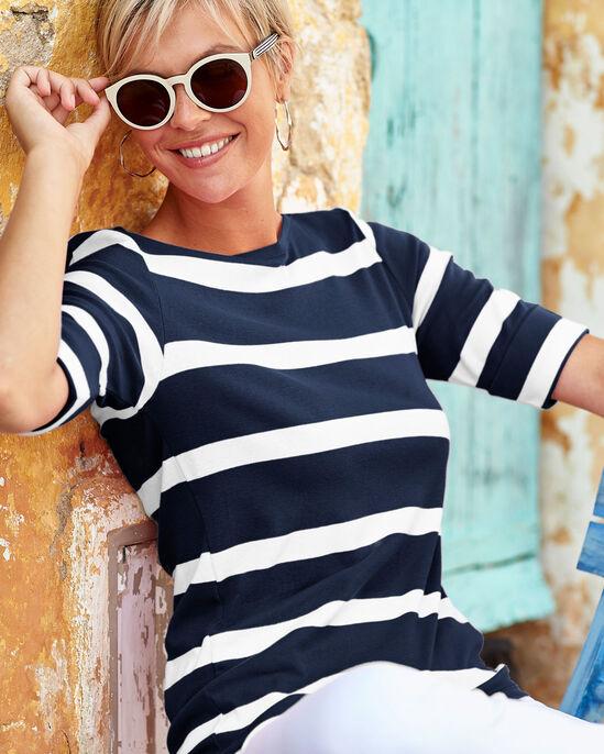 Wrinkle Free Stripe Boat Neck Top