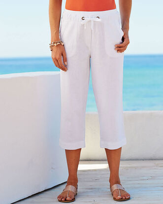 Linen Blend Drawcord Crop Pants