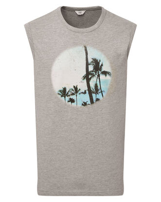 Grey Marl Printed Tank Top