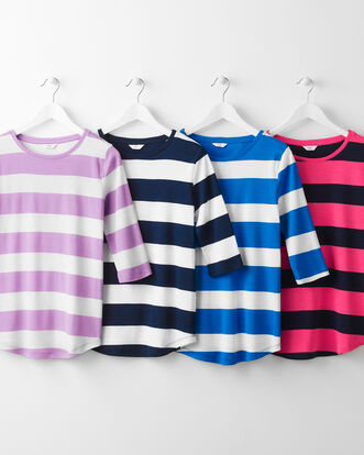 Wrinkle Free Wide Stripe Top