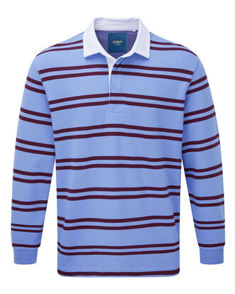 Light Blueberry Long Sleeve Stripe Rugby Shirt