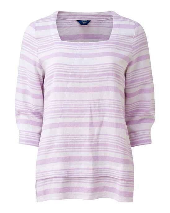 Linen-blend Stripe Top
