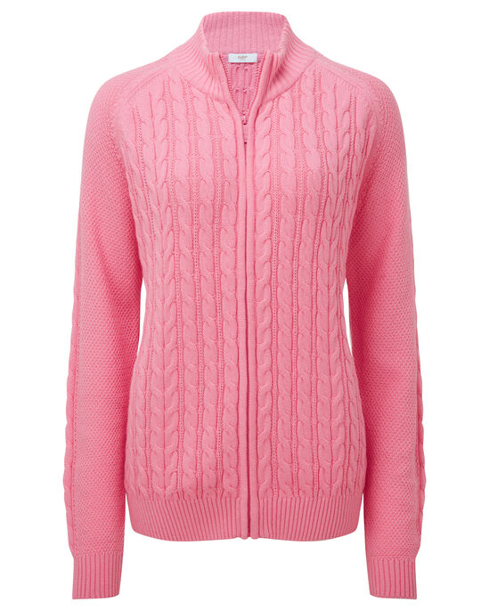 Cotton Cable Zip Through Cardigan