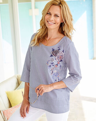 Embroidered Printed Stripe Top