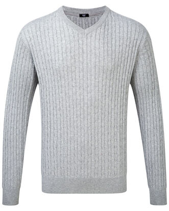 Cotton Cashmere V-neck Cable Sweater