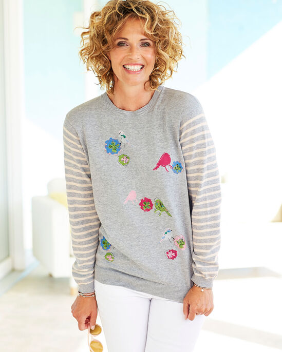 Embroidered Print Sweater