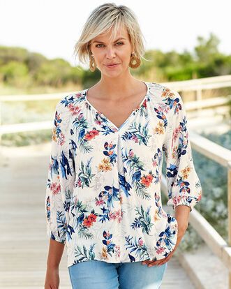 Floral Notch Neck Blouse