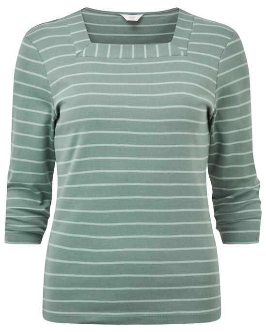 Wrinkle Free 3/4 Sleeve Square Neck Stripe Top