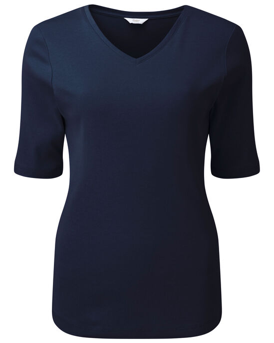 Wrinkle Free V-Neck Half Sleeve Top
