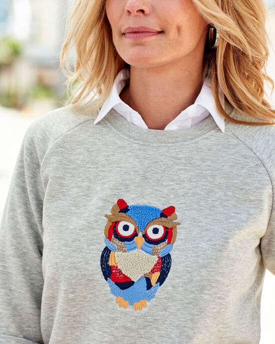 Embroidered Owl Sweatshirt