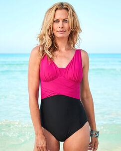 Color Block Tummy Control Swimsuit