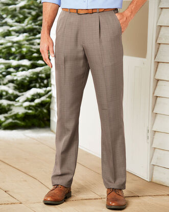 Pleat Front Check Comfort Pants