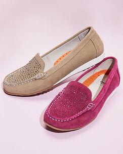 Suede Diamante Loafers