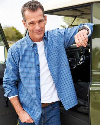 Light Blueberry Long Sleeve Tattersall Twill Check Shirt