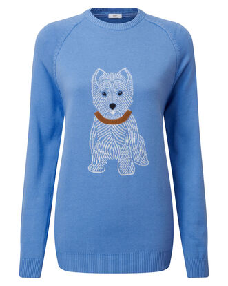 Light Blueberry Cotton Crew Neck Dog Sweater