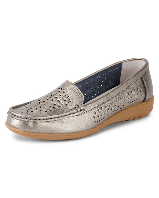 Leather Flexisole Cut Out Loafers