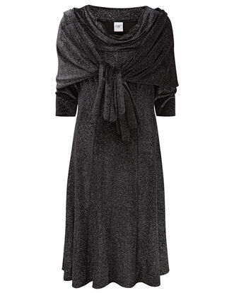 Velour Cowl Neck Sparkle Dress With Shawl