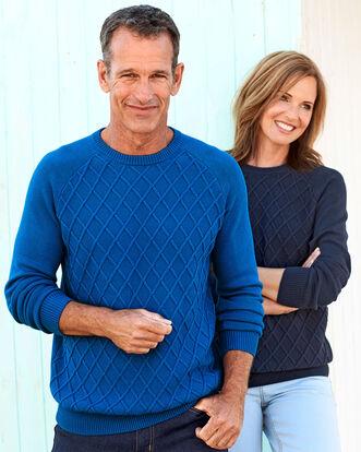 Diamond Knit Crew Neck Sweater