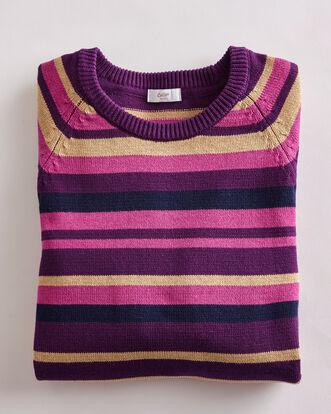 Rich Violet Stripe Cotton Crew Neck Jumper
