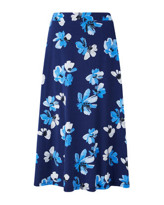 Blue Floral Tummy Control Printed Skirt