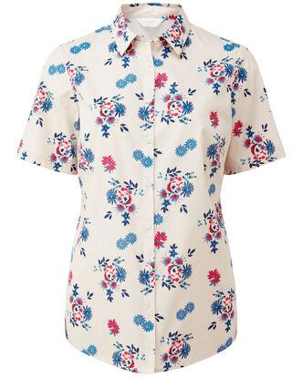 Cream Floral Wrinkle Free Short Sleeve Shirt