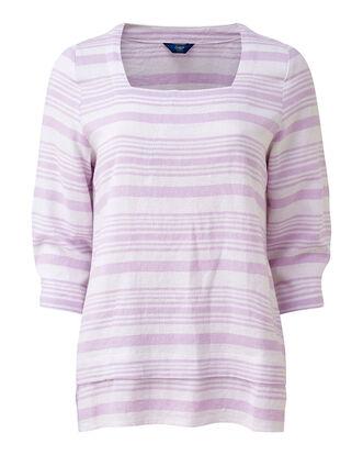 Lilac Linen-blend Stripe Top