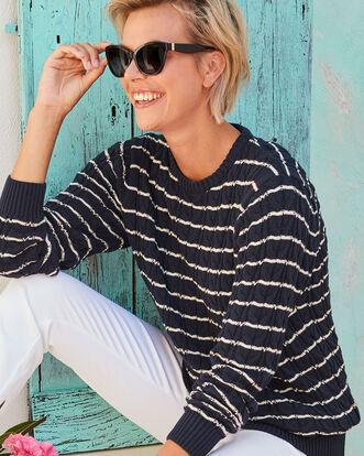 Cotton Cable Stripe Crew Neck Sweater