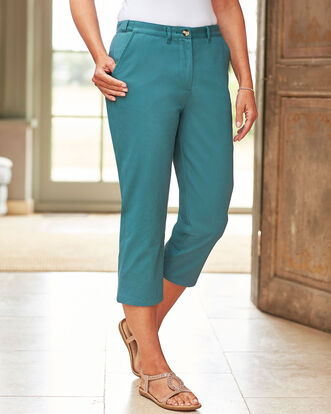 Wrinkle Free Adjustable Waist Crop Pants