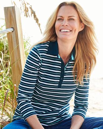 Navy Button Neck Stripe Polo Shirt