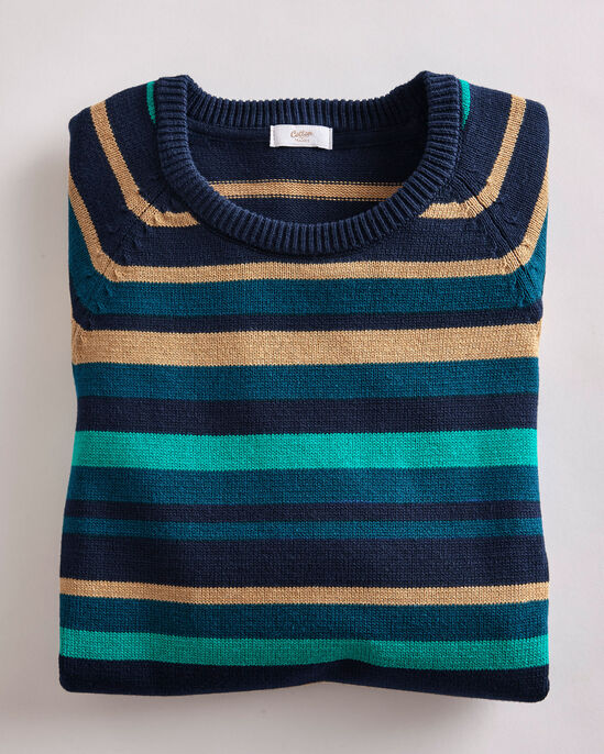 Stripe Cotton Crew Neck Sweater