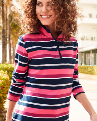Button Neck Stripe Sweatshirt