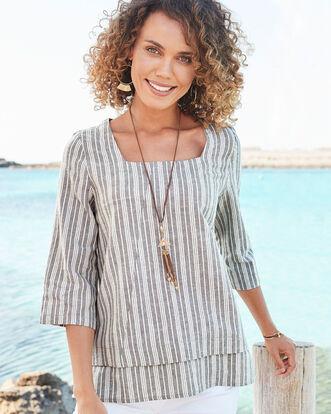Dark Taupe Linen-blend Stripe Top