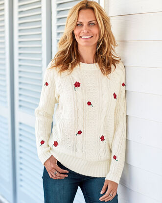 Embroidered Cable Sweater