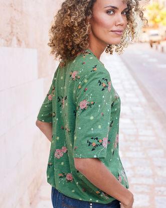 Floral Print Elastic Hem Jersey Blouse