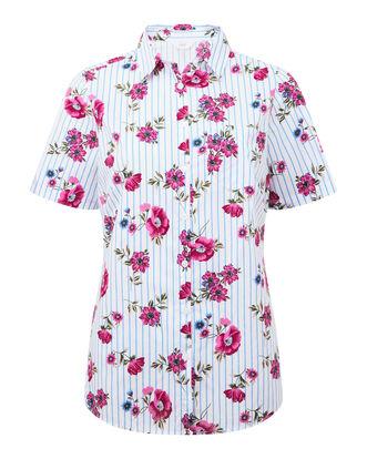 Floral Stripe Short Sleeve Wrinkle Free Shirt