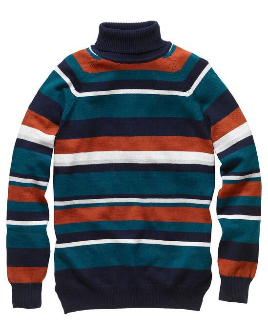 Stripe Cotton Roll Neck Sweater