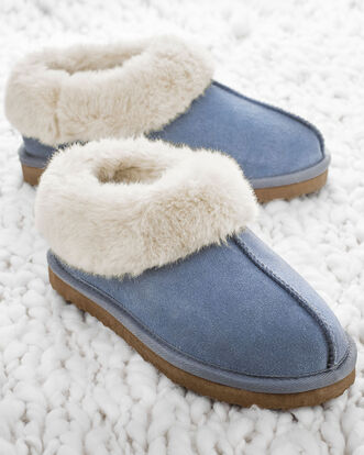 Suede Plush Lined Bootie Slippers